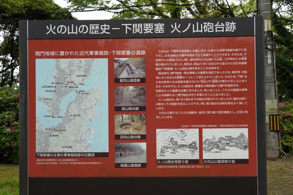 火の山砲台跡の歴史が記載された看板