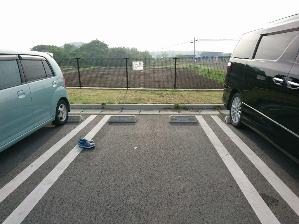 駐車場に忘れ去られたクロックス